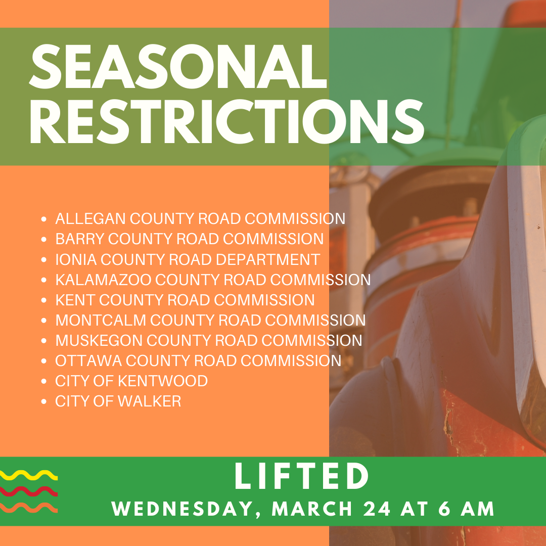 Seasonal Weight & Speed Restrictions Lifted March 24