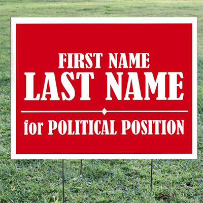 Political Election Signs in Right of Way